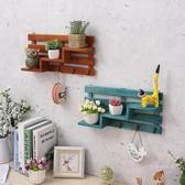 創意實木墻上免打孔置物架店鋪門后口壁掛墻壁裝飾品玄關鑰匙掛鉤【快速出貨】