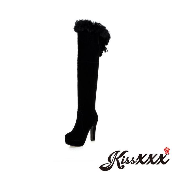 華麗兔毛絨蕾絲綁帶高跟過膝長筒靴 黑 *KissXXX*