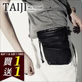 TAIJI【NTJBB34】街頭風格‧束口夾層輕便造型腰包‧二色‧多功能/口袋/側背/後背