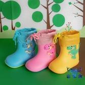 兒童雨鞋防水小童防滑男女加厚耐磨寶寶雨靴卡通恐龍【古怪舍】
