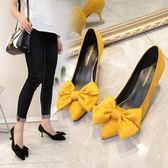 工作高跟鞋女黑色細跟蝴蝶結磨砂中跟5公分淺口正韓低跟單鞋尖頭  蒂小屋服飾 618來襲