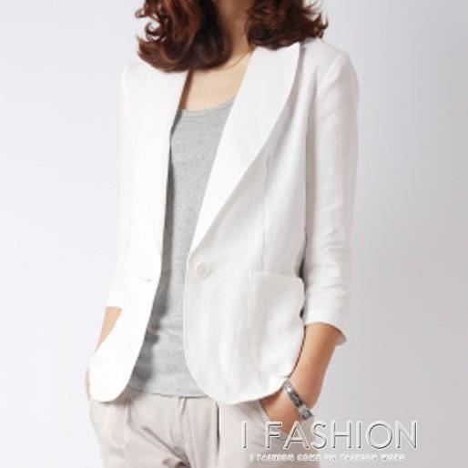 小西裝女韓版短款修身棉麻百搭中袖休閒亞麻薄款西服外套-Ifashion