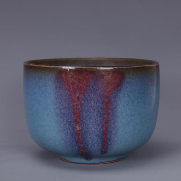 宋鈞窯點彩缸仿古工藝瓷器家居中式裝飾瓷器擺件古董古玩老貨收藏1入