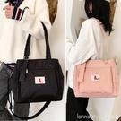 韓版學生白色帆布包女新款單肩側背包文藝范手提包防水布袋包女包 全館新品85折