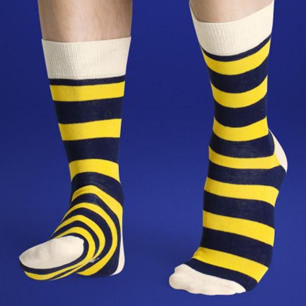『摩達客』瑞典進口【Happy Socks】藍黃橫紋中統襪(60112081021)
