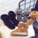 雪靴.百搭舒適反摺毛毛皮帶扣雪靴.白鳥麗子