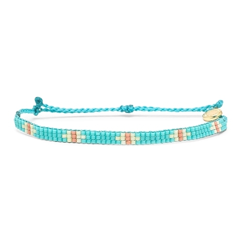 Pura Vida 美國手工 綠松石色系圖騰小彩珠系寬版編織手鍊