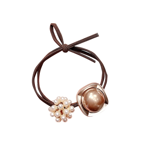 甜美氣質款球型珍珠髮繩(1入)  顏色隨機出貨【小三美日】 髮飾