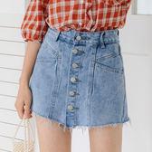 VK精品服飾 韓系高腰毛邊牛仔褲褲百搭短褲裙單品短裙