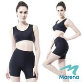 【美國原裝MARENA】魔塑中腰三分塑身褲/顯瘦機能抗菌安全褲(黑膚白)