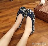 春夏新款老北京布鞋盤扣繡花鞋牛筋底花布鞋防滑單鞋 韓小姐的衣櫥