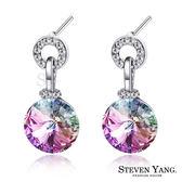 耳環 正白K飾「玩美圓舞曲」耳針式 採施華洛世奇水晶 一對價格 多款任選