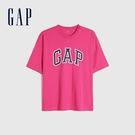 Gap男裝 Logo純棉圓領短袖T恤 688537-玫紅色