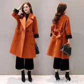 秋季外套女中長款韓版新款冬焦糖色寬鬆斗篷毛呢大衣   美斯特精品