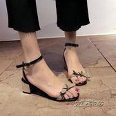 韓版中跟粗跟百搭涼鞋女一字帶露趾中空女士高跟女鞋