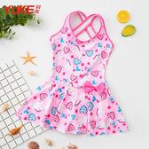 新品兒童泳衣女童寶寶連身裙式女孩學生溫泉游泳裝可愛公主