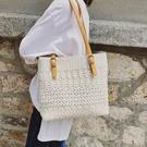 夏季包包女新款仙女蕾絲帆布包斜背包大包托特包文藝手提包袋 草莓妞妞