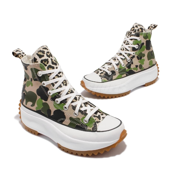 Converse 休閒鞋 Run Star Hike 綠 迷彩 男女鞋 高筒 厚底 增高 鋸齒【ACS】 170913C
