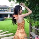 熱賣露背洋裝 法式復古掛脖歐根紗中長款露背油畫連身裙氣質碎花仙女度假吊帶裙【618 狂歡】