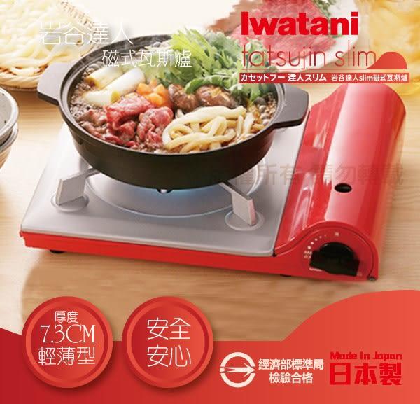 【日本Iwatani】岩谷達人slim磁式超薄型高效能瓦斯爐-日本製造-蜜桃粉橘(CB-TS-DQ)