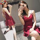 露背洋裝 紅色性感夜店夏季女裝a字裙短裙子v領低胸收腰吊帶裙女