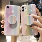 彩虹鐳射 極光 氣囊支架 浪漫粉彩 防摔殼 iPhone 12 mini 11 Pro Max XR Xs 7/8 SE2 蘋果 手機殼