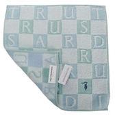TRUSSARDI 立體字母雙色格棉質方巾(綠)989045-310
