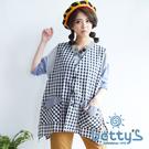 betty's貝蒂思 格紋拼接外搭背心(黑色)