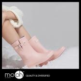 雨鞋雨鞋 短筒雨鞋 韓國馬卡龍色低筒搭扣素面時尚雨靴  mo.oh (韓國鞋款)