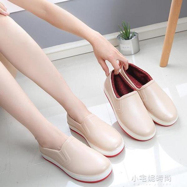 時尚雨鞋女戶外防滑廚房防水鞋學生低幫護士工作短筒平底膠鞋『小宅妮時尚』