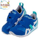 《布布童鞋》asics亞瑟士運動塗鴉藍色兒童機能運動鞋(16~20公分) [ J9N023B ]