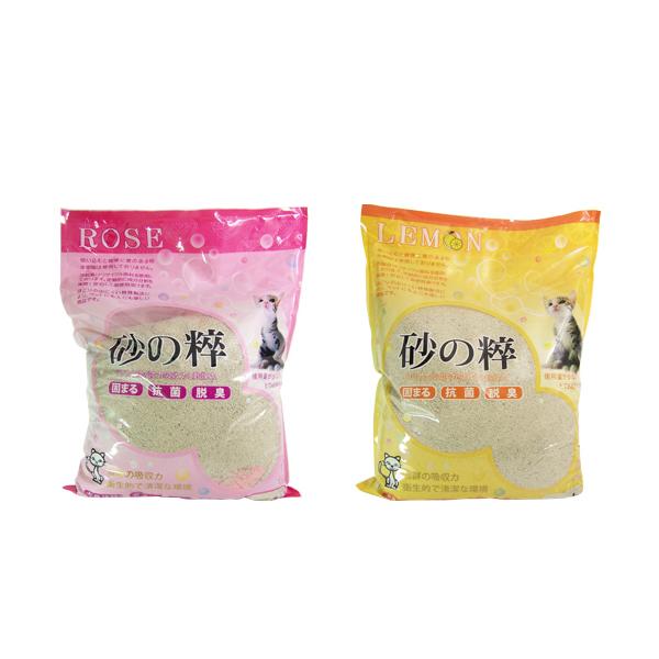 寵物家族-【3包免運組】日本砂之粹細砂10L(玫瑰香/檸檬香)