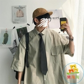工裝襯衫男短袖夏季薄款寬鬆百搭休閒襯衣韓版【樂淘淘】