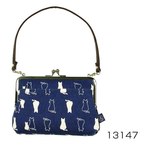 【日本製】 貓帆布系列 手提式口金包 親子貓咪圖案 深藍色 SD-7058 - 日本製 貓帆布系列
