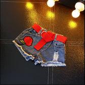童裝2018年夏季新品女童歐美洋氣水洗牛仔褲破洞刺繡玫瑰牛仔短褲   夢曼森居家