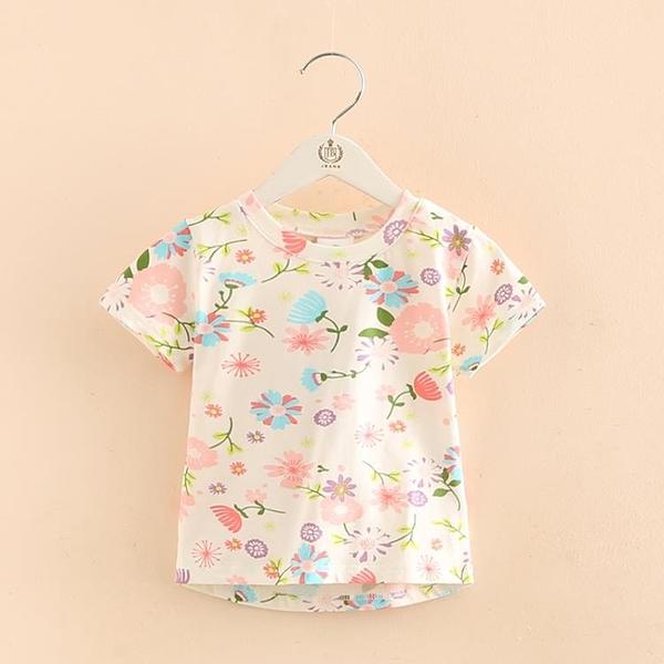 寶寶七彩花上衣 2020夏裝新款女童童裝 兒童滿印短袖T恤tx-8380