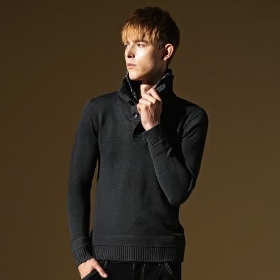 長袖針織衫-假兩件格子翻領花設計男針織毛衣2色73ik71【時尚巴黎】