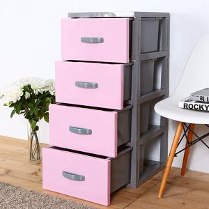 【HOUSE】泡泡糖-四層玩具衣物收納櫃(多色可選)粉色