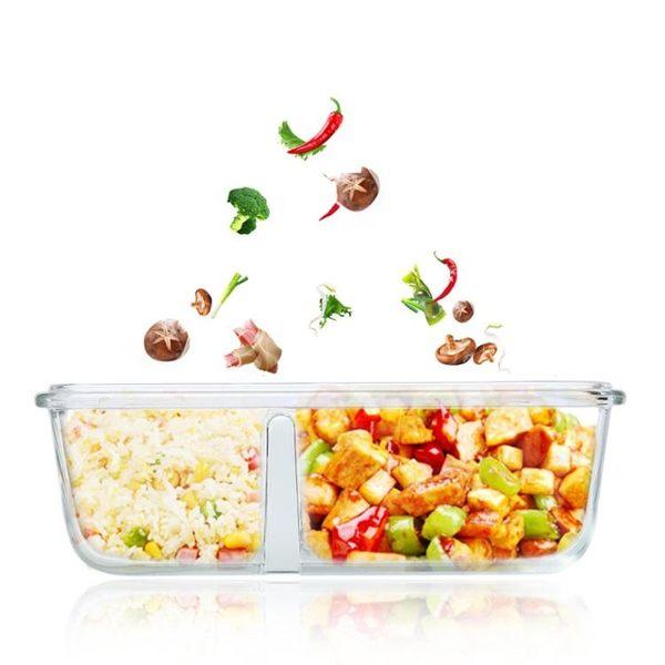 分隔玻璃保鮮盒微波爐飯盒便當盒男可加熱保溫飯盒女學生帶蓋韓國 概念3C旗艦店