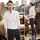 夏季立領襯衫男士五七分袖休閒白襯衣韓版修身寸衣半長袖潮薄『摩登大道』
