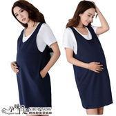 現+預 兩件式純色圓領內搭衣搭寬肩背心裙孕婦洋裝 藍【CSH101720】孕味十足。孕婦裝