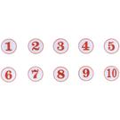 A3 3cm數字圓貼牌/黏牌/標示牌/桌牌 白底紅字 1~99