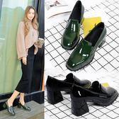 粗跟單鞋女中跟復古漆皮2018春季新款方扣小皮鞋工作鞋方頭高跟鞋