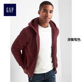 Gap男裝 簡約風格純色刷毛連帽休閒外套 122905-深葡萄色