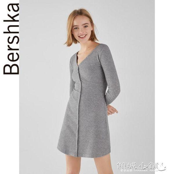 V領連身裙  秋冬新款灰色V領羅紋長袖針織連身裙 傾城小鋪