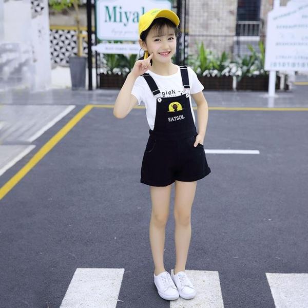 女童吊帶褲 女童夏季吊帶短褲套裝4-12歲中大童兒童短袖吊帶褲兩件套純棉洋氣-Ballet朵朵
