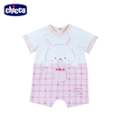 chicco-粉彩--印格紋短袖兔裝-粉