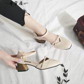 涼鞋女夏季學生百搭韓版粗跟一字扣女鞋2018新款軟妹港味中跟鞋子【奇貨居】