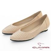 【CUMAR】優雅化身- 排鑽尖頭金屬楔型低跟鞋(金色)