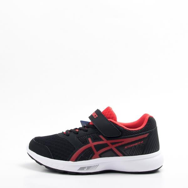 Asics STORMER 2 PS 兒童慢跑鞋-黑 紅C812N-001  cb2a252155e